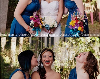 Mallard Blue Wrap Knee Length Infinity Convertible Dress...37 Colors... Bridesmaids, Wedding, Honeymoon, Tropical,  Vacation