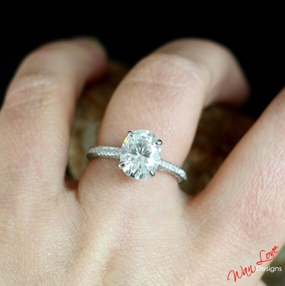 Forever One Moissanite & Diamond Oval Engagement By