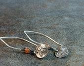 fine silver bee and sunstone earrings - the bee charmer - prosperity, sweetness, community