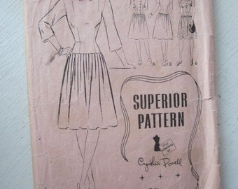 REDUCED Vintage 1940s Superior Pattern 9614 RARE Size 18 B 36 Low Waist Pleated Dress