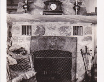 Beautiful Stone Hearth- 1940s Vintage Photograph- Fireplace Mantel- Home Interior- 40s Decor- Snapshot- Found Photo- Paper Ephemera