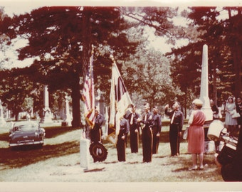 Military Funeral Honors- 1950s Vintage Photographs- SET of 2- Old Color Photos- Cemetery Snapshot- Headstones- Soldier Memorial- Ephemera