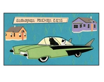 Cats, Mid Century Modern,photo collage, mixed media collage, SET OF 4, 50s, Car, Houses, Teal, Lime, Blank Inside Greeting Card