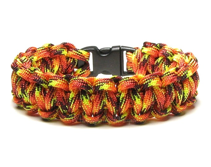 Paracord Bracelet Fireball Red Orange Fire Camping Campfire Summer Survival Gear Military Veteran Gift Woven Cord Type 3 Scouting Accessory