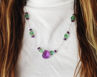 Amethyst/Fluorite Illusion Necklace