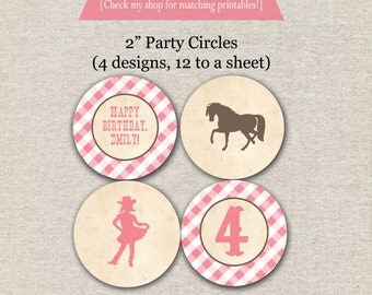 Pony Party Circles | Vintage Cowgirl Cupcake Toppers Party Circles | Cowgirl stickers | Cowgirl Birthday | digital printable
