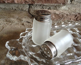 Vintage Frosted Salt & Pepper Shakers Tiny White Glass Small Set
