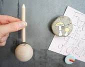 Magnetic Wood Pencil Holder - Wood Pencil Holder - Refrigerator Pencil Holder - Office Decor - Christmas Teacher Gift - Single Pencil Holder