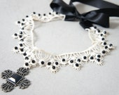 Gothic Equal Armed Cross - Gothic Lace Cross - Black And White Gun Metal Amulet - Gothic Pendant - Gothic Alchemy Necklace - Gothic Choker