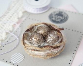 Rustic Bird Nest Magnet - Easter Magnet - Natural Office Decor - Refrigerator Magnet - Bird Nest Magnet - Vintage Easter Egg Decorations