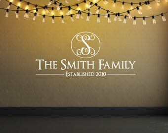 Custom Family Name - Established Year and Monogram - Wall Decal Custom Size and Color - Free Shipping within USA
