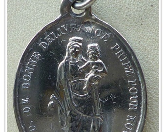 Our Lady of Deliverance Vintage Silver Religious French Religious Medal Pendant on 18 inch sterling rolo chain