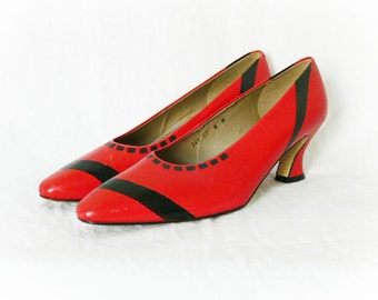 Vintage 80s Upcycled Painted Red Black Pumps Heels Shoes Abstract Art 7.5 Punk Clearance Item
