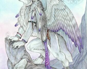 Fantasy Winged Antho Wolf Werewolf Print