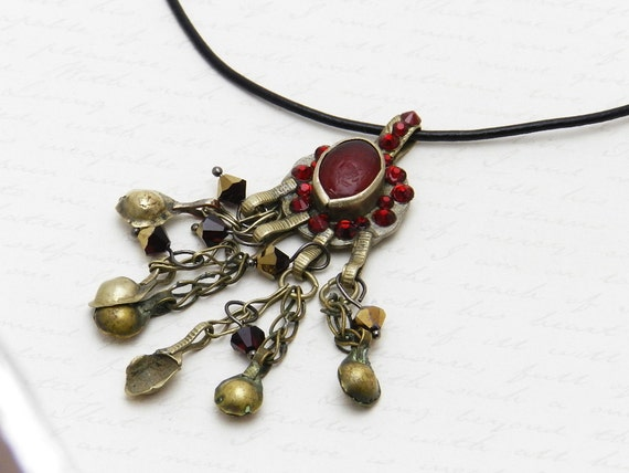 Vintage Kuchi Coin Necklace with original deep red glass gem - embellished with Siam Swarovski crystal  and beads