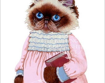 Himalayan Kitty Kitten Cat in Pink Dress Cute Anthropomorphic Art Print Giclee Louisa by Max Bailey 8x10 inch Borderless Image on Art Paper