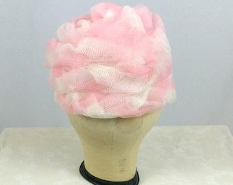 1960s Pink Puff Hat Nylon Net Handmade