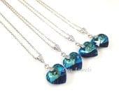 10% OFF Set of 8 Bermuda Blue Swarovski Crystal Heart Necklaces - Peacock Blue Wedding Bridesmaids Bachelorette Party Gift Under 20