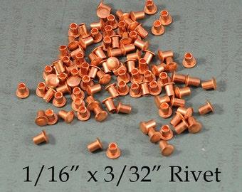 """1/16"""" x 3/32"""" Genuine Copper Rivets for EZ Rivet Tool System - 100 pieces"""