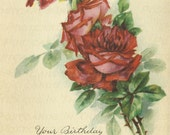 Victorian Red Rose Birthday Greetings  - Digital Hand Designed Art - Scrapbooking, Card Making & Crafts - PRINTABLE DOWNLOAD
