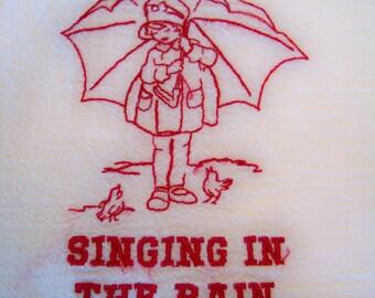Novelty Towel Singing in the Rain Morton Salt Girl