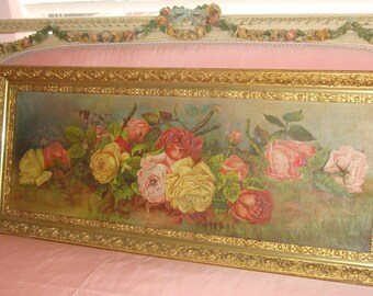 Antique ROSES Yard-long Oil Painting Pink Yellow Red Cabbage ROSES Stretched Canvas Ornate Gold Gilt Gesso Wood Frame