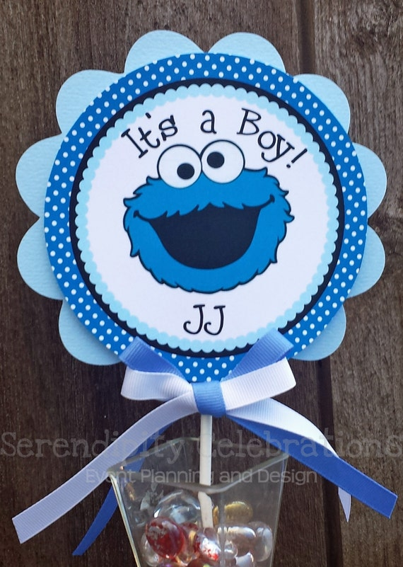 blue monster small centerpiece birthday baby shower cookie monster