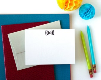 Letterpress Black Stripe Bow Tie Note Set