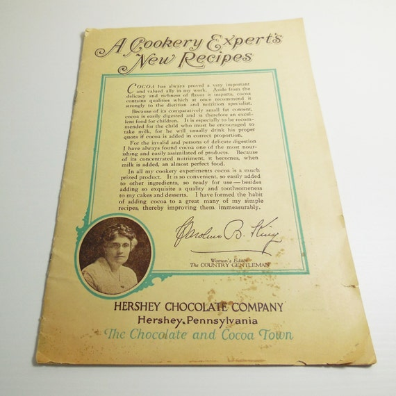 A Cookery Expert's New Recipes - 1920's Hershey Chocolate - Vintage Cookbook