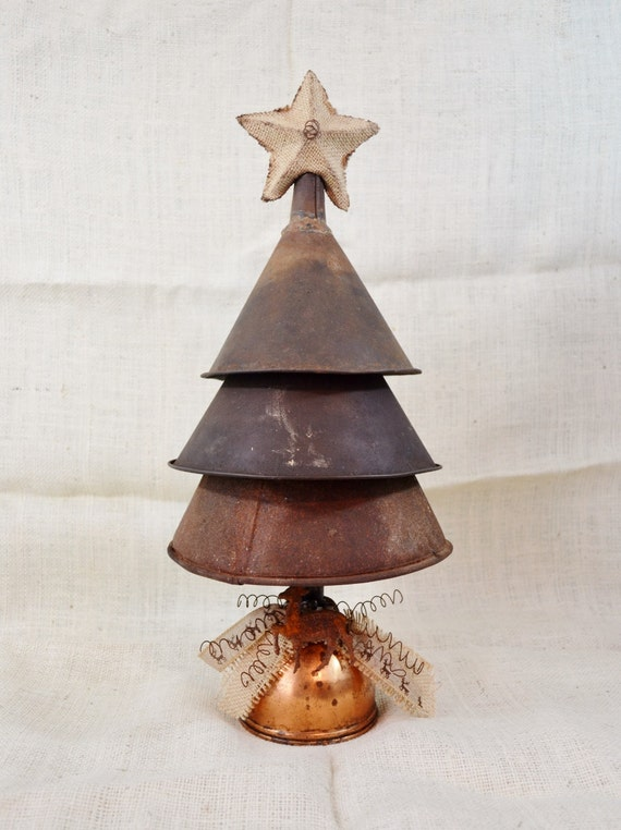 large metal funnel christmas tree decoration rustic primitive