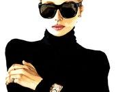 "A5 (5.8 x 8.3"") Version -Elegant, Timeless Fashion Portrait Illustration - Limited Edition, Fine Art, Giclee Print"