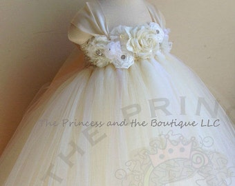 Ivory dress champagne dress flower girl dress flower girl - Diademas para bautizo ...