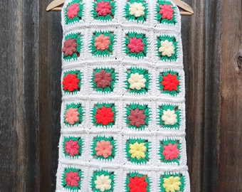 Vintage Crocheted Granny Square Afghan / Crocheted Blanket / Colorful Crocheted Afghan
