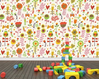 Just Peel and Stick Fabric Re-positionable Wallpaper- Carton Floral - Kids Playroom Custom Colors Wallpapers Fabric Wall Decors prt0040