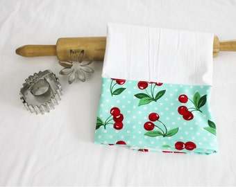 Retro Cherries on Aqua Flour Sack Kitchen Towel
