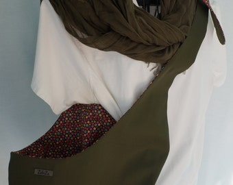 Pet Sling Just Basic Reversible- SMALL- Olive and Tiny Flowers