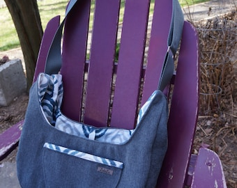 The Jack or Jill Sling Sak- Textured Denim Blue and Abstract Print