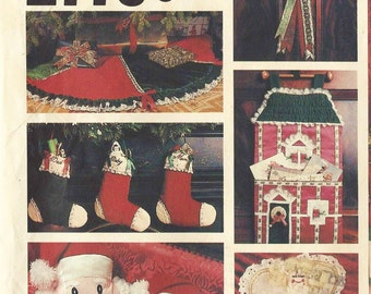 1970s  Christmas Accessories, Christmas Ornaments, Tree Skirt, Card Holder Stockings Vogue Sewing Pattern 2776 UnCut Santa Head Pillow