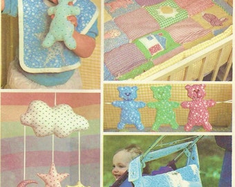 1980s Baby Package Baby Quilt, Crib Toys Mobile, Diaper Bag, Bibs McCalls Sewing Pattern 7268 UnCut Vintage Baby Sewing Patterns