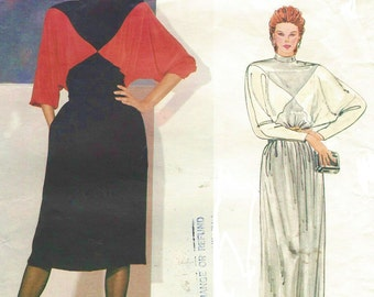 80s Christian Dior Womens Color Blocked Pullover Dress Day or Evening Length Vogue Paris Original Pattern 1101 Size 12 Bust 34