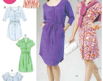 Womens Shirtdress and Belt McCalls Sewing Pattern M6520 Size 18 20 22 24 Bust 40 42 44 46 UnCut Button Front Shirtdress
