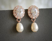 Rose Gold Bridal Earrings, Swarovski Pearl Drop Dangle Wedding Earrings, Crystal Halo Bridal Earrings, Modern Vintage Style Earrings, IMOGEN