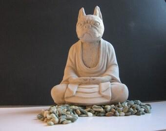 Boston Terrier Buddha Dog Statue, Concrete Statues Of Dog Buddhas, Boston Terrier Statues For Home & Garden, Pet Memorial for French Bulldog