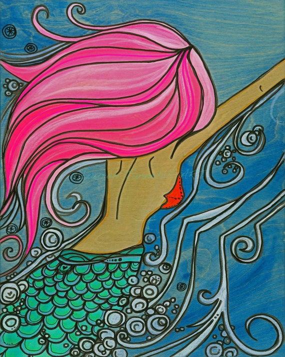 11x14 Large Print of Mermaid Playing in the Ocean Waves Bright Colored Print by Lauren Tannehill ART