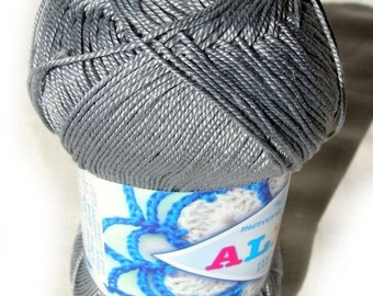 Cotton yarn Alize Miss. 100% Mercerized Cotton. Gray silver color col. 496. DSH