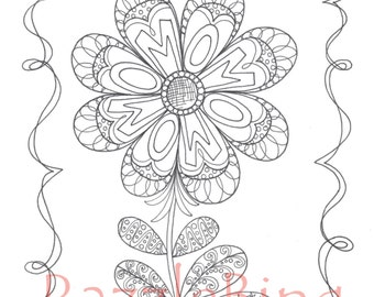 Printable Coloring Page Zentangle Henna Inspired Mom Flower Zendoodle Doodle PDF