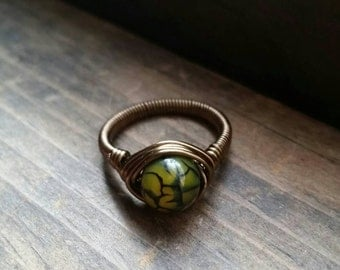 Dragon's Egg Antique Style Wire Wrapped Ring