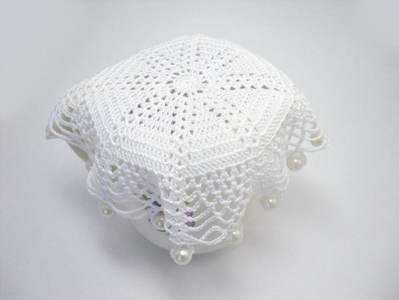 Free Crochet Patterns For Jug Covers : White Crochet Beaded Jug Cover with Pearly Beads Beaded Glass
