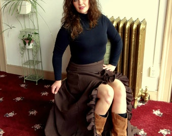 Brown Vixen Steampunk Gothic Neo Victorian Ruffled High Low Long Skirt