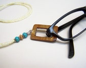 Lanyard, Eyeglass Holder, Eyeglass Necklace, Holder, 32 Inchs, Turquoise Color Beads, Mother of Pearl, Eyeglass Chain, Eyeglass Ring, ,